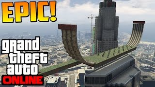 SÚPER DIFICIL!! MEGA RAMPA BESTIAL!!! - Gameplay GTA 5 Online Funny Moments (Carrera GTA 5 PS4)