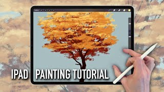 IPAD PAINTING TUTORIAL - H๐w to paint an Autumn Fall Tree