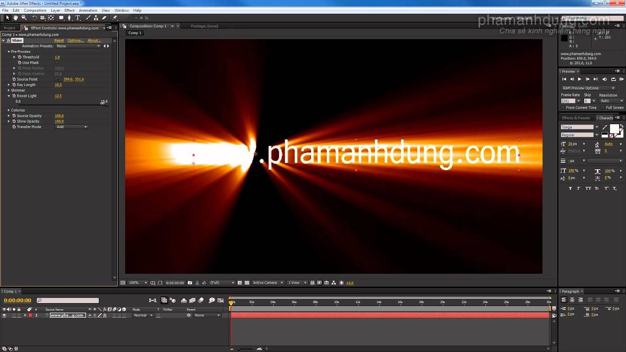Hướng dẫn căn bản Trapcode Shine trên After Effects