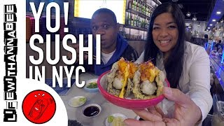 The Only Conveyor Belt Sushi in New York City - Yo! Sushi | NYC Food Tour - LifewithAnnaBee
