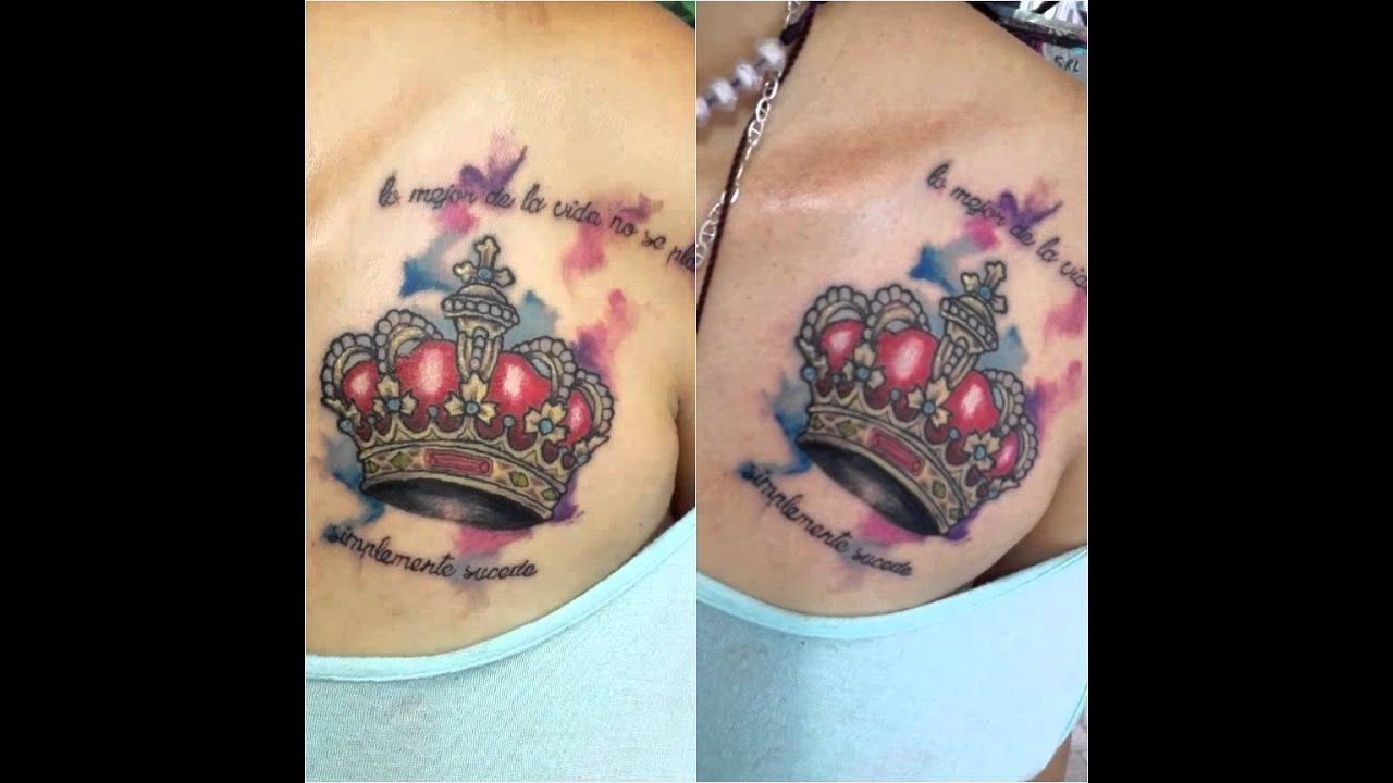 Tattoo Corona Full Con Fondo En Acuarela Youtube
