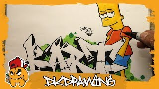 How to draw graffiti letters Bart & Bart Simpson Character (The Simpsons)