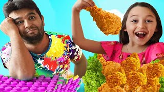 Öykü and Dad eat and cook healthy Toy food and fried chicken
