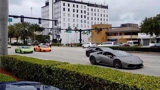 Парад спортивных машин в Майами Lamborghini, Ferrari и куча других машин)(В видео парад спортивных дорогих машин/звук мотора )), 2015-12-08T20:55:32.000Z)
