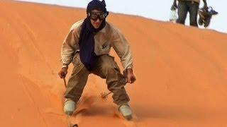 Skiing on Sand Dunes in the Sahara Desert