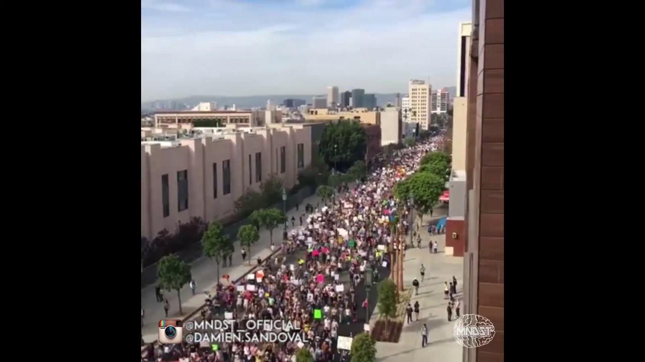 MASSIVE Anti Trump Protest Downtown Los Angeles Balcony View