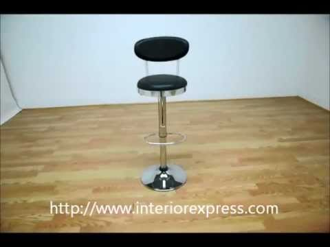 InteriorExpress Aden Black Vinyl Chrome Adjustable Swivel Bar Stool