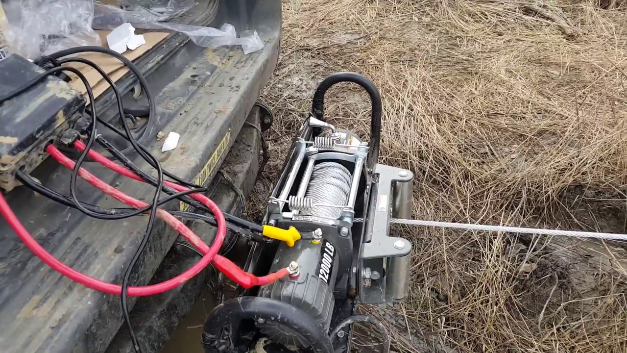 harbor freight lb winch mud test youtube