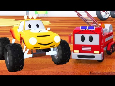 Fire truck, bulldozer, racing car and Lucas the Monster Truck  | Cartoon for children about trucks