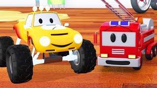 Camión de bomberos, bulldozer, carreras de coches y Lucas el Monster Truck   de dibujos animados para niños acerca de los camiones