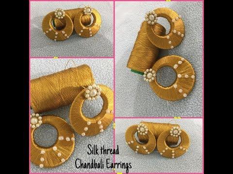 How to make Chandbali silk thread Earrings/Tutorial