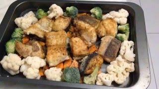 Вкусный ужин. Сом с овощами.