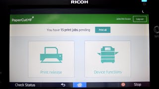 PaperCut MF for Ricoh SOP Devices Interface Walkthrough