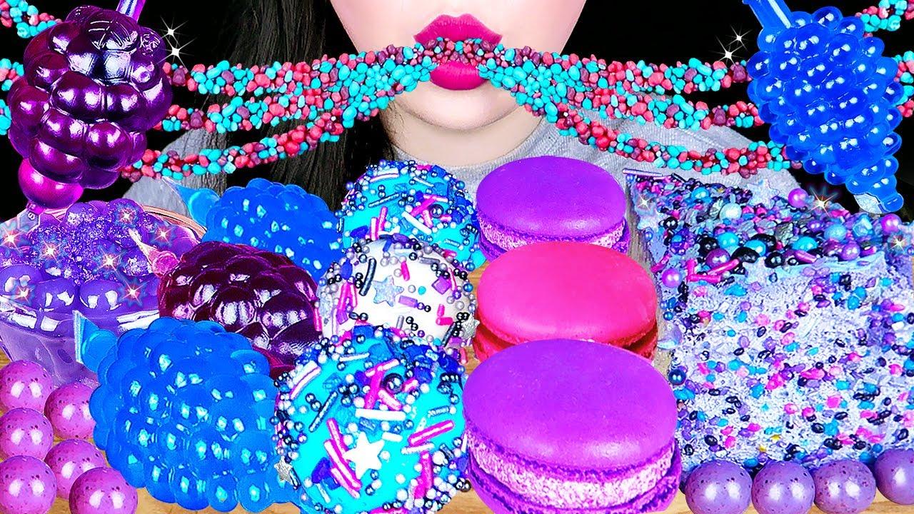 GALAXY DESSERTS 갤럭시 디저트 먹방 MUKBANG 갤럭시 대왕젤리, 파란색 틱톡젤리, 우주 로프젤리 PURPLE BOBA, BLUE JELLY EATING SOUNDS