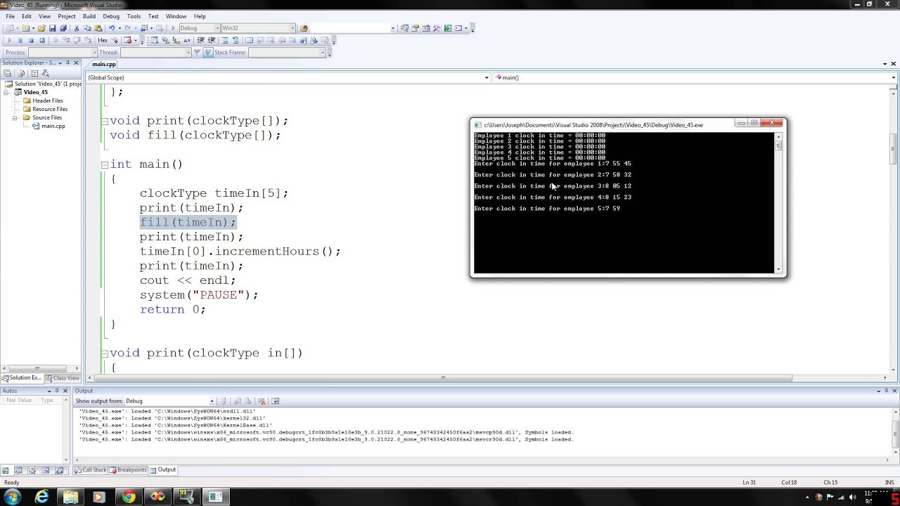 C Programming 45 Array Of Class Objects Youtube