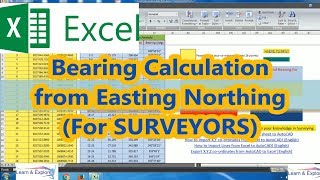 Bearing Calculation from coordinates / Surveying / Excel sheet download