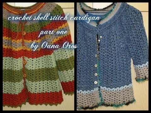 Crochet Shell Stitch Cardigan Part One Youtube