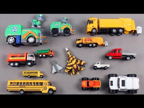 Learn Big And Small Vehicles For Kids Children Babies Toddlers With Paw Patrol School Bus Van Plane