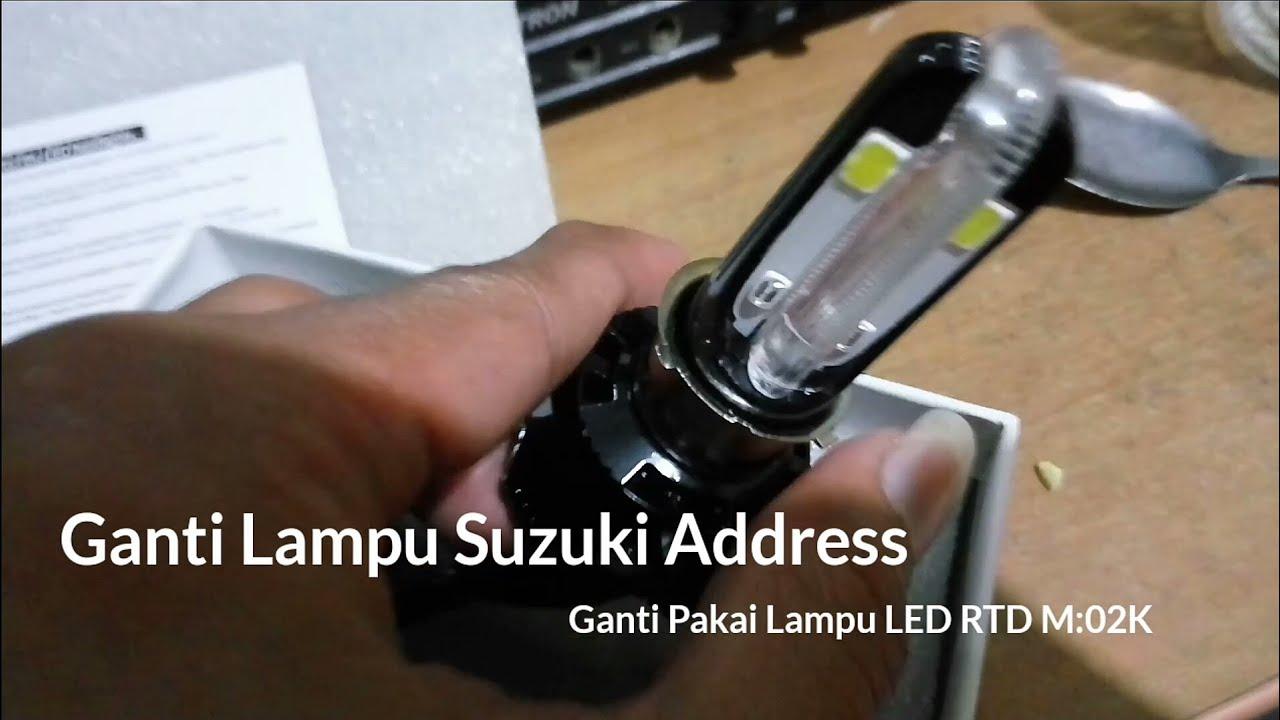 Cara Ganti Lampu Utama Motor Bawaan Dengan Led Rtd M02k 40 3 Sisi Watt Tested Suzuki Address