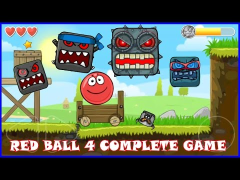 RED BALL 4 Complete game walk-through with all 4 BOSSES killed.