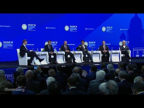 Putin, Macron, Abe, Wang, Lagarde Speak at SPIEF
