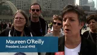 Maureen O'Reilly at Toronto Public Library Workers Union Rally at City Hall