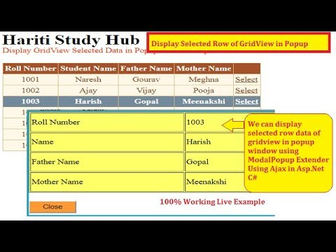Display Gridview Selected Row Data in Popup Window Asp Net C# Ajax | Hindi  | Free Online Learning