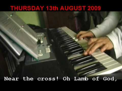 Near the cross played on keyboard