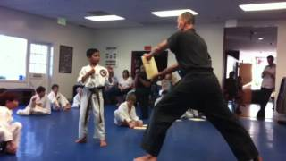 Brown belt board breaking.MOV