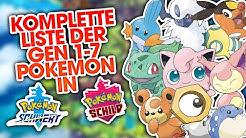 KOMPLETTE LISTE der Gen 1-7 Pokémon in POKÉMON SCHWERT & SCHILD!
