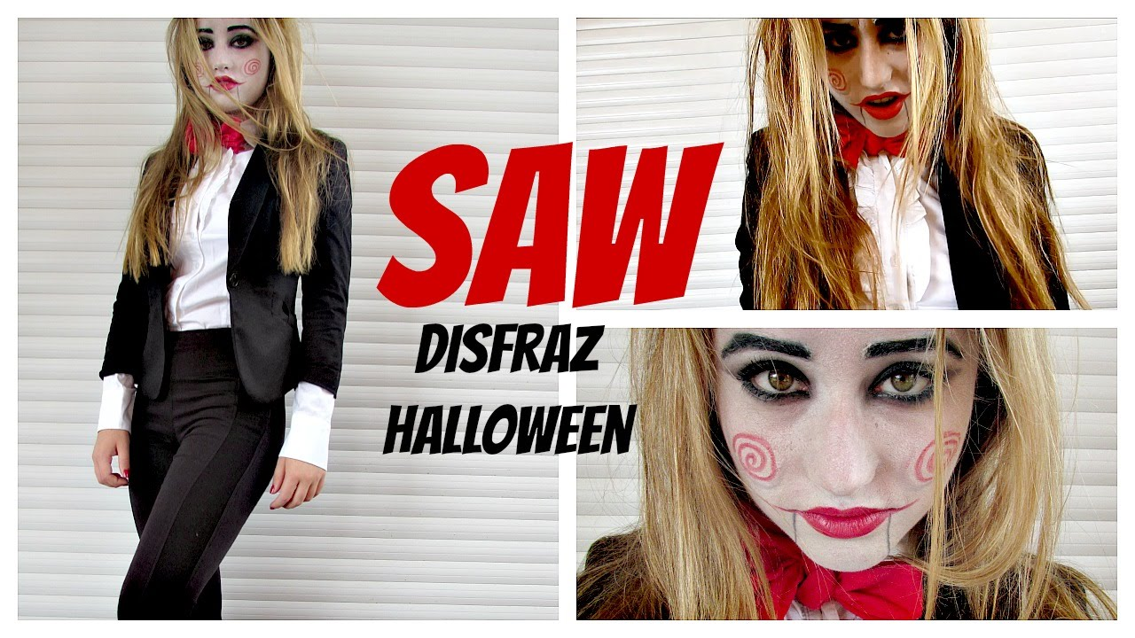 saw maquillaje y disfraz casero billy halloween sencillo y rapido diy youtube
