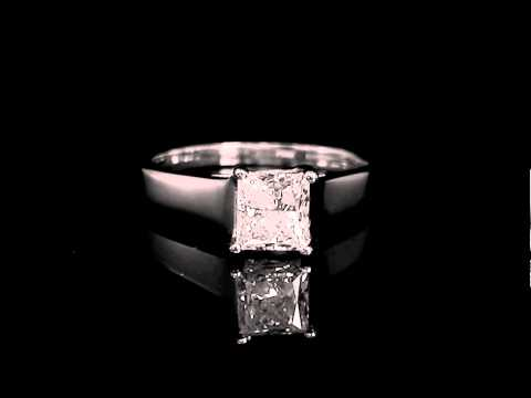 1 CT Solitaire Princess Cut Diamond Engagement Ring in White Gold