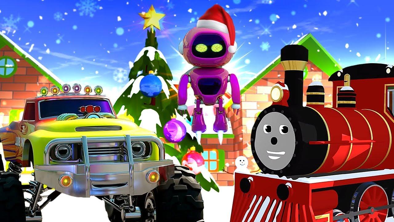 Мультики для детей про Новый год, машинки и паровозики ...