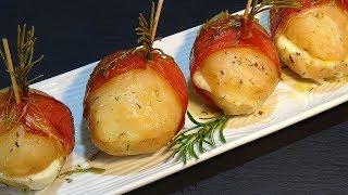 Receta Patatas al horno rellenas de mozzarella con jamón serrano - Recetas de cocina