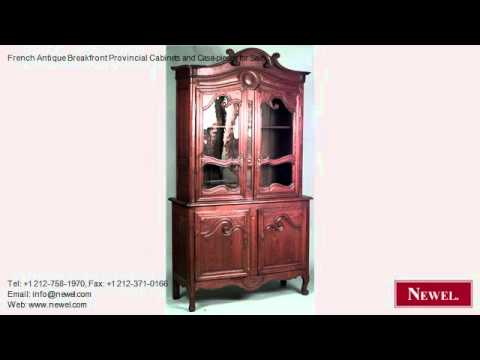 French Antique Breakfront Provincial Cabinets and Case-