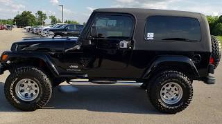 2005 USED JEEP WRANGLER LJ LWB UNLIMITED 2 DOOR BLACK FOND DU LAC WALK AROUND REVIEW SOLD! 9476A