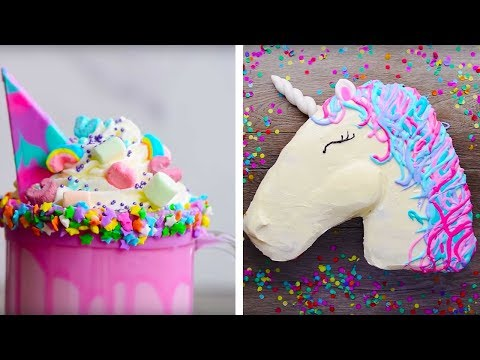 10 Amazing Unicorn Themed  Dessert Recipes | DIY Homemade Unicorn Buttercream Cupcakes by So Yummy