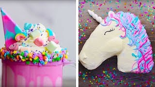 10 Amazing Unicorn Themed Easy Dessert recipes | DIY Homemade Unicorn Buttercream Cupcakes & More thumbnail