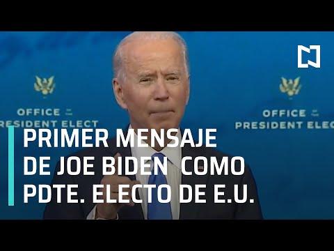 Primer Mensaje de Biden como Presidente Electo de Estados Unidos