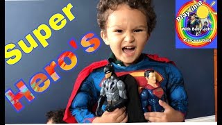 TOYS!!PRETEND PLAY, kid video for kids (Superhero's) Batman Superman and Captain America