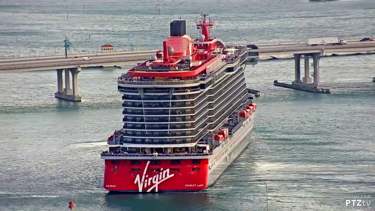Arrival of Virgin Voyage's SCARLET LADY into Port Miami - 3/7/2020 ...