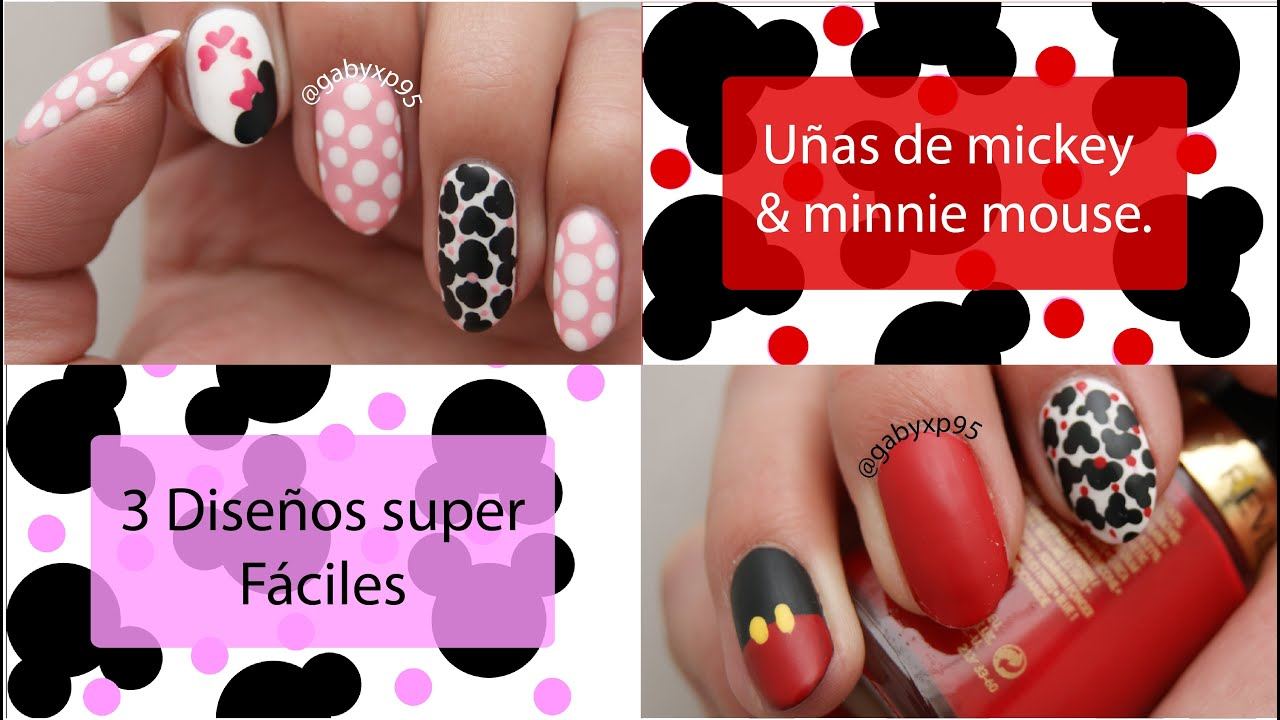 3 Diseños de uñas de Mickey y Minnie mouse!!!! - YouTube