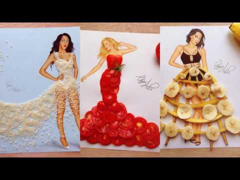рисунки девушек с очаровательными платьями из...