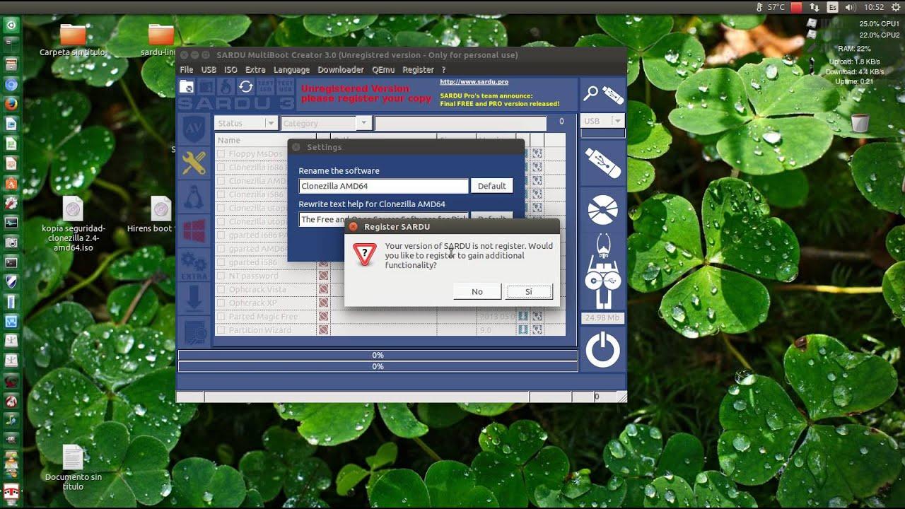 Sardu 3, crear memoria usb multiboot- instalar ubuntu, hiren's boot,  clonezilla,