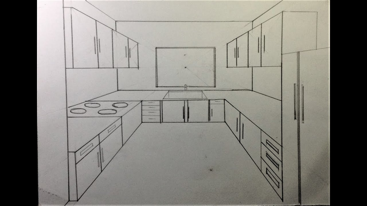 How To Draw Kitchen Set in One Point Perspective - YouTube