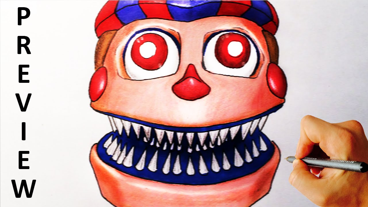 How To Draw Nightmare Balloon Boy Jumpscrare From Five Nights At