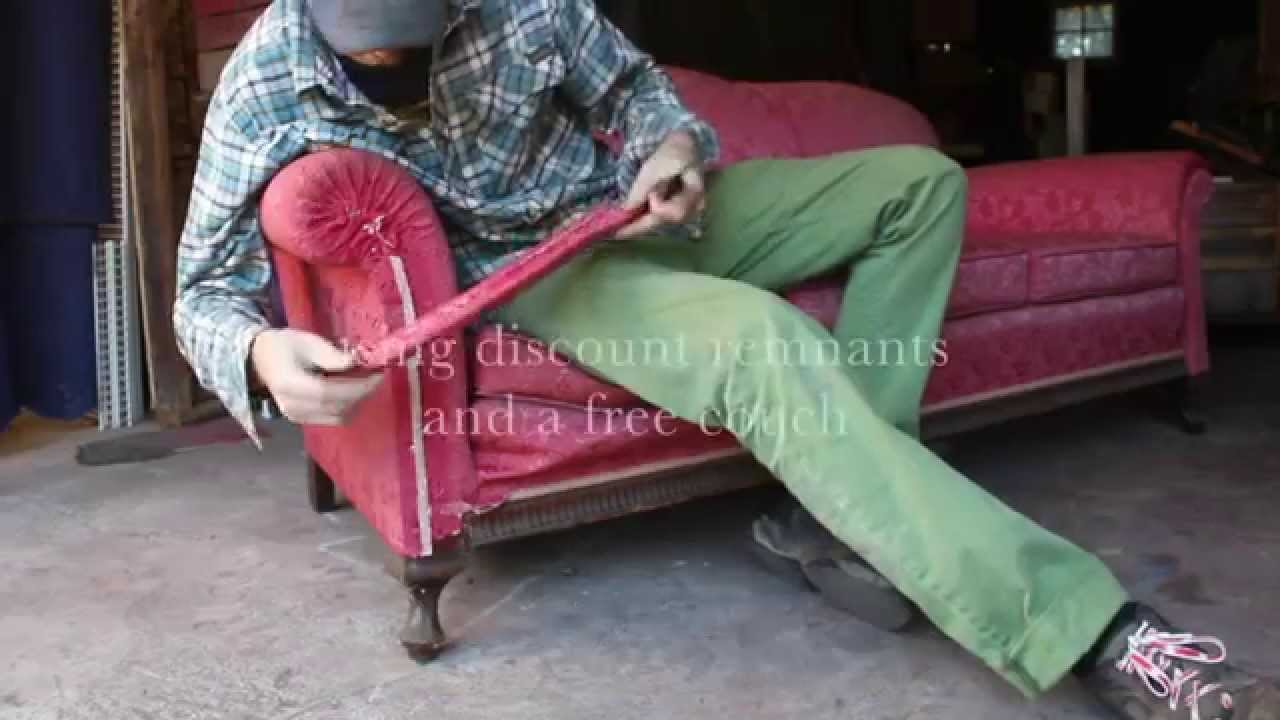 Reupholstering A Free Couch   No Electricity Or Sewing!   YouTube