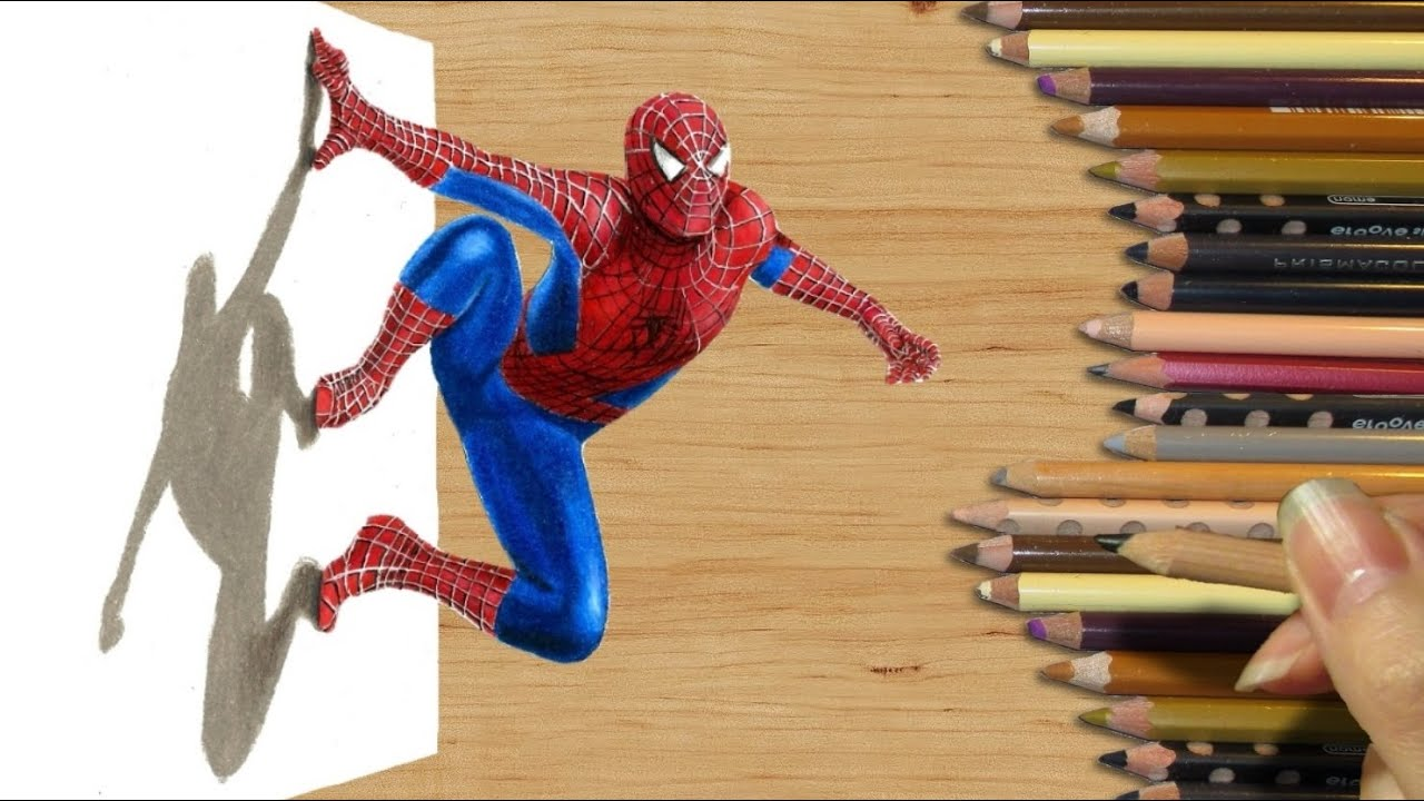 how to draw spiderman 3d step by step