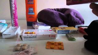 How to / What to pack for travel drugs medications for holiday flight travel motion sickness