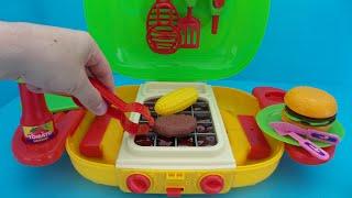 speelgoed barbecue keuken uitpakken en spelen unboxing toy bbq kitchen and play with it
